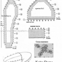 Связать подошву для тапочек крючком схема